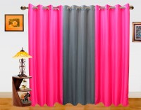 Dekor World Polyester Grey, Pink Solid Eyelet Long Door Curtain 275 Cm In Height, Pack Of 3