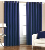 La Elite Polyester Blue Door Curtain 84 Inch In Height, Pack Of 2