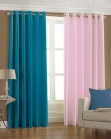 Homefab India Polyester Multicolor Solid Eyelet Long Door Curtain