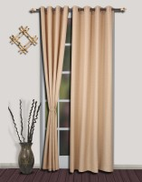 S9home By Seasons Polyester Beige Solid Eyelet Door Curtain 260 Inch In Height, Pack Of 2