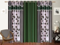 Desirica Polyester Green Printed Eyelet Long Door Curtain 270 Cm In Height, Pack Of 3