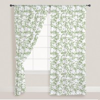 Smart Home Cotton Green Window Curtain 210 Cm In Height, Pack Of 2