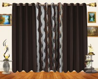 Decor Bazaar Polyester Brown Window Curtain 154 Inch In Height, Pack Of 3