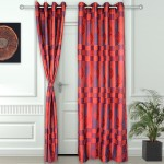 Story@Home Polyester Multicolor Abstract Ring Rod Door Curtain