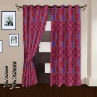 Story @ Home Polyester Multicolor Abstract Ring Rod Door Curtain 215 Cm In Height, Pack Of 2