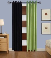 Home Fashion Gallery Polyester Black, Green Plain Eyelet Window Curtain 152.4 Cm In Height, Pack Of 2