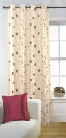 Fabutex Tissue Brown Floral Eyelet Door Curtain 213 Cm In Height, Single Curtain