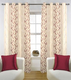 Kings Tissue Multicolor Floral Eyelet Door Curtain