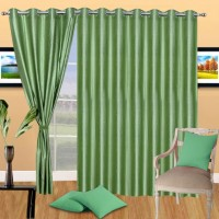 Handloomdaddy Polyester Green Floral Eyelet Door Curtain 208 Cm In Height, Pack Of 3
