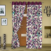 Story @ Home Polyester Purple Printed Eyelet Door Curtain 215 Cm In Height, Pack Of 2