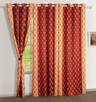 Swayam Satin, Silk Brown, Beige Printed Ring Rod Door Curtain 90 Inch In Height, Single Curtain