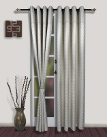 S9home By Seasons Polyester White Geometric Eyelet Door Curtain 260 Cm In Height, Pack Of 2