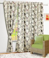 Story @ Home Satin Beige Abstract Eyelet Door Curtain 215 Cm In Height, Single Curtain