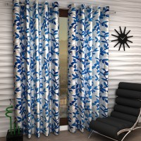 Home Sizzler Polyester Blue Floral Eyelet Door Curtain 210 Cm In Height, Pack Of 2