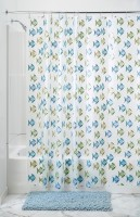 InterDesign Ethylene Vinyl Acetate Blue, Green Printed Shower Curtain 72 Inch In Height, Single Curtain