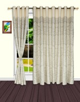 S9home By Seasons Polyester White, Grey Motif Eyelet Door Curtain 228.6 Cm In Height, Pack Of 2