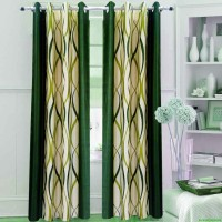 Homefab India Polyester Green Geometric Eyelet Door Curtain 242 Cm In Height, Pack Of 2