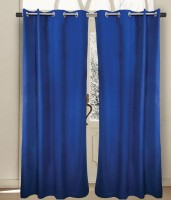 House This Cotton Blue Printed Eyelet Door Curtain 210 Cm In Height, Single Curtain