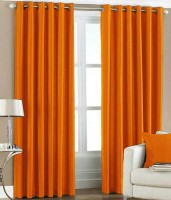 C.E Collection Polyester Orange Plain Eyelet Door Curtain 84 Cm In Height, Pack Of 2