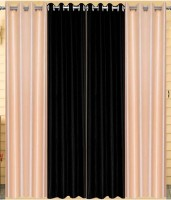 Home Fashion Gallery Polyester Multicolor Plain Eyelet Window Curtain 152.4 Cm In Height, Pack Of 8