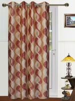 Dekor World Polyester Maroon, Beige Abstract Eyelet Long Door Curtain 275 Cm In Height, Single Curtain