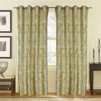 S9home By Seasons Polyester Green Abstract Eyelet Door Curtain 228.6 Cm In Height, Pack Of 2