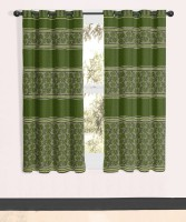 Vivace Homes Jacquard, Polyester Green Window Curtain 152 Cm In Height, Single Curtain