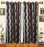 Decor Bazaar Polyester Brown Window Curtain 154 Inch In Height, Pack Of 2