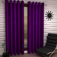 Home Sizzler Polyester Purple Plain Eyelet Door Curtain 210 Cm In Height, Pack Of 2