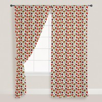 Smart Home Textile Cotton Orange Door Curtain 210 Cm In Height, Single Curtain
