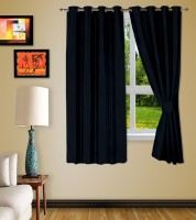 Story @ Home Jacquard Black Printed Eyelet Window Curtain 152 Cm In Height, Pack Of 2