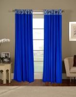 Salona Bichona Cotton Blue Plain Curtain Door Curtain 228 Cm In Height, Single Curtain