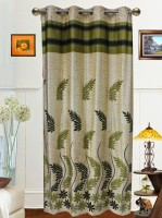 Dekor World Polyester Green Door Curtain 215 Cm In Height, Single Curtain