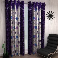 Home Sizzler Polyester Purple Abstract Eyelet Door Curtain 210 Cm In Height, Pack Of 2