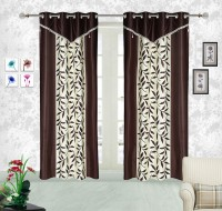Comfort Zone Polyester Brown And White Abstract Eyelet Door Curtain (213.36 Cm In Height, Pack Of 2)