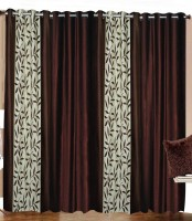 Home Fashion Gallery Polyester Brown Floral Eyelet Window Curtain 152.4 Cm In Height, Pack Of 4