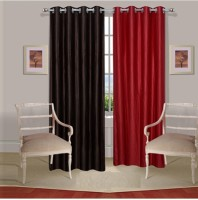 Fogg Polyester Brown||Red Solid Tab Top Door Curtain 84 Inch In Height, Pack Of 2