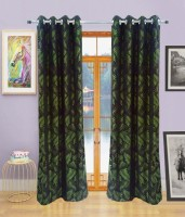 Homefab India Polyester Green Floral Eyelet Door Curtain 212 Cm In Height, Single Curtain