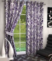 K Decor Polyester Purple Printed Eyelet Door Curtain 213 Cm In Height, Single Curtain
