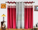 Dekor World Batik Jacquard With Sheer Door Curtain - Pack Of 3 - CRNDXM38KDYQMYYR