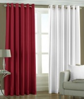 HomeZaara Polyester Red, White Door Curtain 213.36 Cm In Height, Pack Of 2