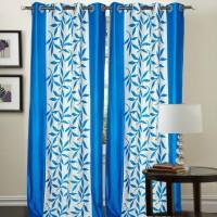 Decor Vatika Polyester Light Blue Abstract Door Curtain 214 Cm In Height, Single Curtain