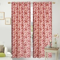 Fresh From Loom Polyester Red Floral Curtain Door Curtain 214 Cm In Height, Pack Of 2