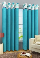 Homefab India Polyester Light Blue Door Curtain 212 Cm In Height, Single Curtain