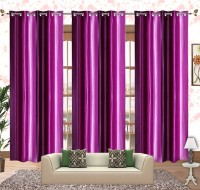 Comfort Zone Polyester Dark Purple And Light Purple Solid Eyelet Door Curtain 213.36 Cm In Height, Pack Of 3
