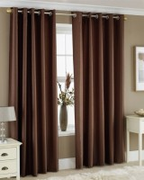 Pindia Polyester Door Curtain (Single Curtain, 84 Inch/214 Cm In Height, Brown)