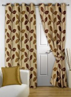 Story @ Home Polyester Brown Floral Curtain Door Curtain 215 Cm In Height, Pack Of 2