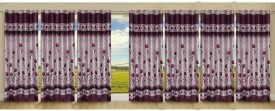 Stella Creations Polyester Red Printed Eyelet Door Curtain