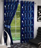 K Decor Polyester Blue Printed Eyelet Door Curtain 213 Cm In Height, Single Curtain - CRNEFF7458TZ4THS