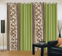 Home Elite Polyester Green Floral Eyelet Door Curtain 214 Cm In Height, Pack Of 4